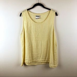 Flax Pale Yellow 100% Linen Flowy Tank Large